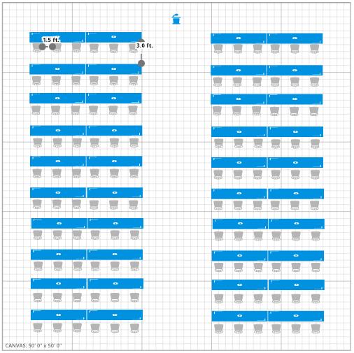 Meeting Room Event Floor Plan w/ No Social Distancing