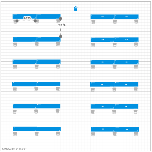 Meeting Room Event Floor Plan w/ 6 Feet Social Distancing
