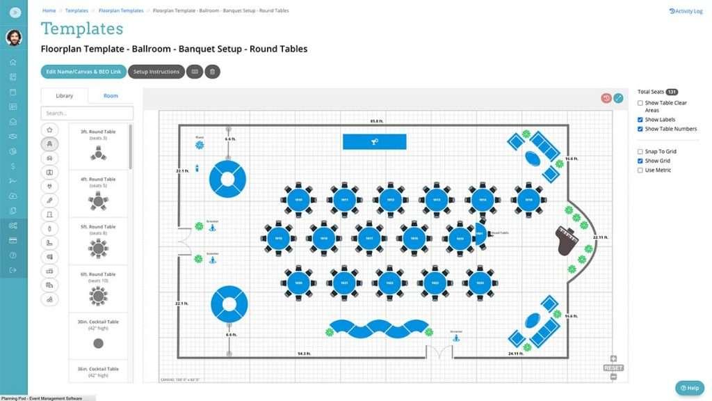 Planning Pod Event Floor Plan Software Tool
